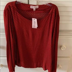 Philosophy Red with black polka dots blouse.